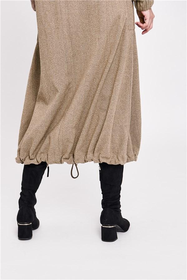 香榭落葉抽繩長大衣