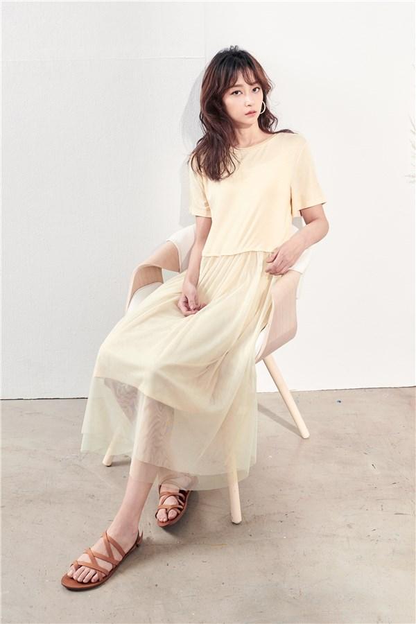 小仙女米杏裸紗洋裝