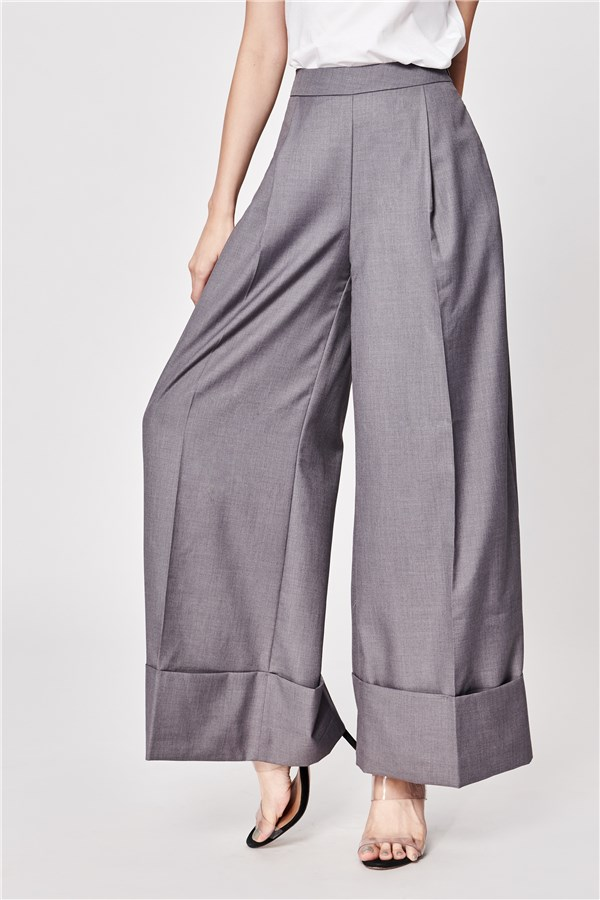 石灰反摺長寬褲