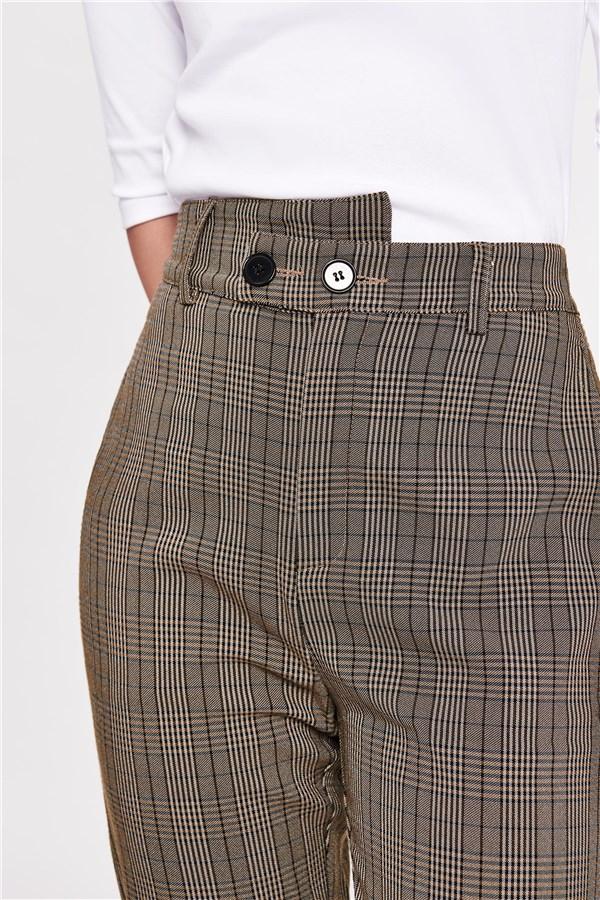 雙扣復古格紋直筒褲