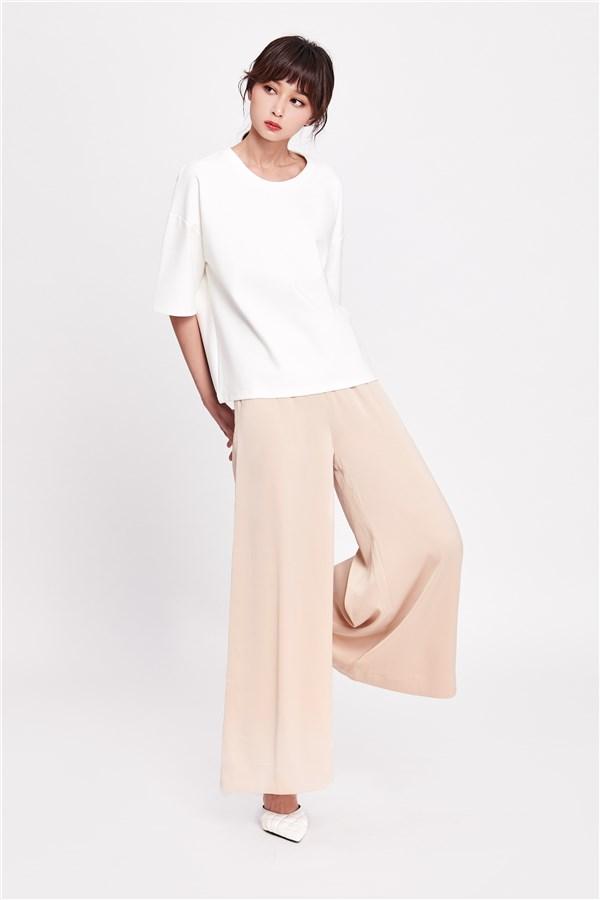 紓壓感緞光套裝-寬褲